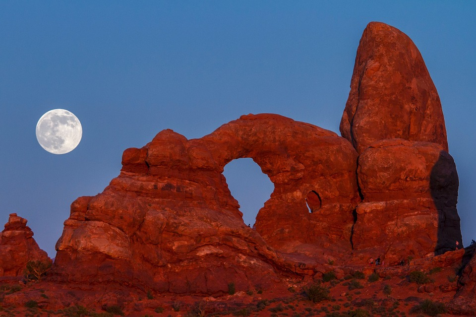 Supermoon over arches